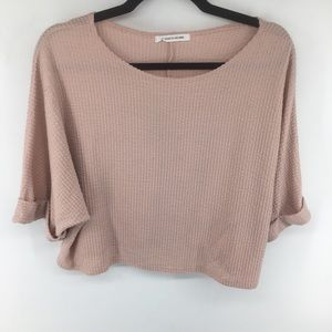 Anthropologie Caution To The Wind Waffle Knit Top